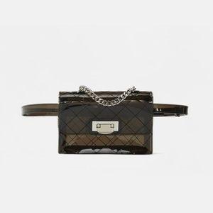 NWT Zara Vinyl Belt Bag with Cross hatching gray